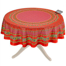 "68"" Round Olives Red Cotton Coated Provence Tablecloth by Le Cluny"
