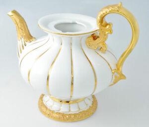 Meissen Prunk X-Form Teekanne 1.Wahl mit Goldrand