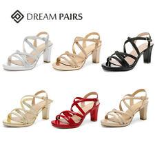 DREAM PAIRS Women's Pump Chunky Heel Sandals Open Toe Summer Dress Shoes