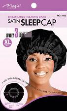 Magic Collection Satin Sleep Cap Breathable Elastic Band XL 21 # 2122BLA**
