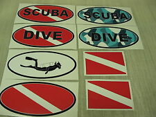 Blue SCUBA DIVE FLAG OVAL Sticker Decal LOT Camo Camoflage 4 boat car Truck