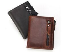 First Layer Genuine Cowhide Leather ID Credit Card Coin Purse Zipper Wallet