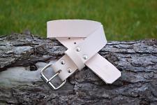 Handmade Full Grain Veg Tan Work Real Leather Belt 2 inch Nickel Plated Buckle