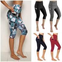 Womens 3/4 Capri YOGA Pants Pocket Gym Fitness Cropped Leggings Workout Trousers