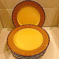"Set (4) Metlox Vernon Ware San Fernando Dinner Plates Poppytrail Gold Brown 11"""