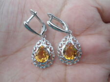 Natural Golden YELLOW CITRINE 925 Silver EARRINGS