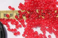 5/0 Vin.Venetian Glass Seed Beads Round Trans Ruby Matte Crafts Jewelry /1oz