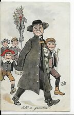 "EARLY GENUINE VINTAGE COMIC POSTCARD,VICAR,BOYS""ALL A GROWIN !""1905"