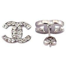 Crystal alloy earrings fashion silver cute girl ear stud gift present new P13 cc