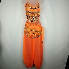 Belly Dance Outfit Women's Small/Medium Orange Gold Pants Top Belt
