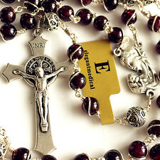 Wire Wrap Garnet & Sterling Silver Beads Catholic ROSARY Crucifix NECKLACE BOX