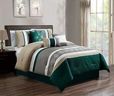 Dcp 7Pcs Luxury Embroidery Bed in Bag Microfiber Comforter Set, King Teal