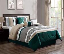 Dcp 7Pcs Luxury Embroidery Bed in Bag Microfiber Comforter Set, Queen Teal