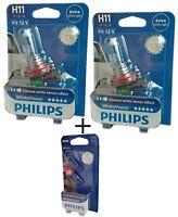 H11 PHILIPS White Vision 12362WHVB1 2st + W5W Philips White Vision 2st
