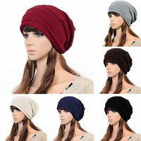 Unisex Womens Knitted Crochet Winter Warm Hats Oversized Slouch Beanie Knit Cap