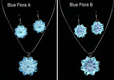 - choice of 7 designs - blues Paper Necklace & Earrings sets (teabag folding)
