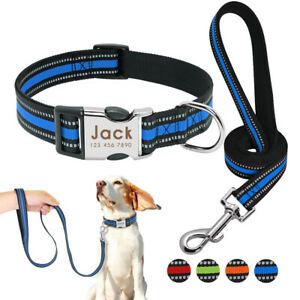 Nylon Collar and Lead Reflective Personalised Nameplate ID Name Tags Engraved