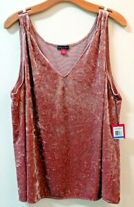 New VINCE CAMUTO Crushed Velvet Sleeveless Tank Blouse Iced Rose Pink XL 14 NWT