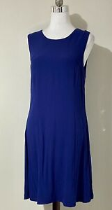 Piper Size 14 Mini Dress Blue Sleeveless Fit & Flare Viscose Crepe - Party Work