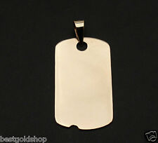 """1"""" MENS MILITARY DOG TAG DISC CHARM PENDANT REAL SOLID 14K YELLOW GOLD 2.8gr"""