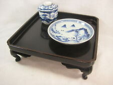 ANTIQUE JAPANESE MEIJI ERA 120 YR OLD WOOD & LACQUER OBON OZEN TRAY TABLE