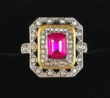Vintage Sterling Silver Gold Ring Ruby White Sapphires Antique Deco Jewelry P