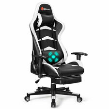Massage Gaming Chair Reclining Racing Chair with Lumbar Support Office White