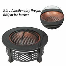Fire Pit Bowl Patio Garden Heater Bbq Grill Brazier Log Charcoal Black Round