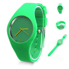 JELLY SILICONE BAND LARGE DIAL QUARTZ ANALOG SPORTS GREEN WRIST WATCH UK SELLER