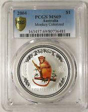 2004 Australia 1 oz. 999 Silver Colorized Monkey PCGS MS69