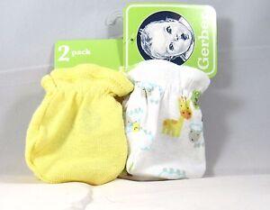 Gerber 2 Pair No Scratch Mittens Unisex Yellow 0 3 Months Gloves Baby