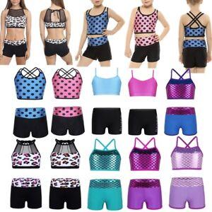Kids Girls Two Piece Tankini Ballet Gym Dancing Swimming Outfit Crop Top+Shorts