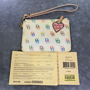 Vintage Dooney & Bourke Coated Canvas Wristlet White With Colorful DB Signature