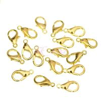 100Pcs Lobster Claw Trigger Clasps Jewellery Findings 10/12mm Silver/Gold Plated