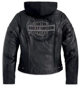 Harley Davidson Women's Miss Enthusiast Leather Jacket Hoodie 3in1 XL 98030-12VW