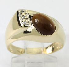 Diamante ojo de tigre anillo 14K oro amarillo brillante redondo ovalado 1,30 CT