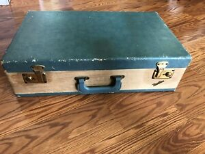 Vintage Vacationer Late 1940's Wooden Suitcase w/Brass Locks (With Keys)
