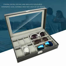 PU Leather 6+3 Grid Watch Sunglass Eyeglasses Display Box Case Storage Organizer
