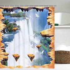 3D Falls Bathroom Shower Curtain Waterproof Mildew-proof Fabric Curtain Home