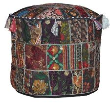 BLACK Pouf pouffe vintage ottoman foot stool bohemian patchwork poufs bean bag !