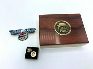 Pizza Hut Restaurant Collectible Enamel Lapel or Hat Pins With Brass Box VTG Now