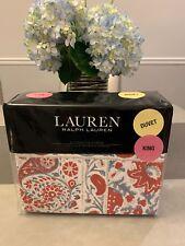 Ralph Lauren Full Queen Duvet Cover Set 3 pieces KELSEY RED FLORAL blue New Bed