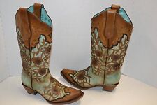 Corral Women's 7.5 B Flowers Overlay SNIP TOE Studded Western Boots Mint C3176
