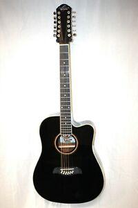 Oscar Schmidt OD312-CE 12 St  Acoustic-Electric Guitar BLACK -FOR REPAIR  #R7955