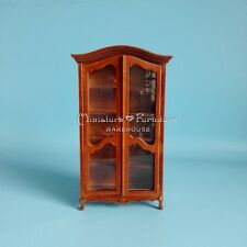 1:12 Dollhouse Miniature Furniture Handcrafted Walnut Display Cabinet Armoire