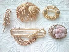 5 Vintage brooch pins. Monet gold tone ribbon, Pink rose pin, and more