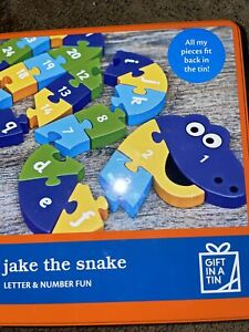 Apples To Pears Big Tin Jake The Snake Letter & Number Jigsaw In A Tin