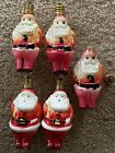 5 Vintage Santa Claus Christmas Bulbs Figural - Milk Glass