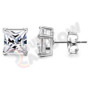 925 Sterling Silver Stud Earrings Men Women 3,4,5,6,7,8,10mm Diamond Square