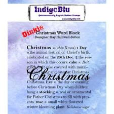 CHRISTMAS WORD BLOCK - Dinkie (A7)  Rubber Stamps - INDIGOBLU